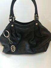 GUCCI Black Leather Sukey Tote Handbag