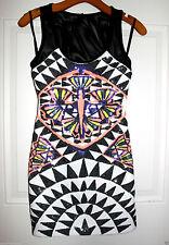 NWT bebe black white sequin mesh cutout back clubbing top sexy dress M medium