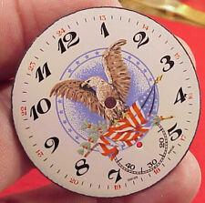 SWISS 43MM  EAGLE FLAG PATRIOTIC ENAMEL DIAL Pocket Watch FITS WALTHAM 16 SIZE