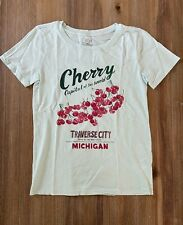 "J. Crew Women's ""Michigan Cherries"" Graphic T Shirt - Aqua Sky Blue - NWT"