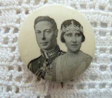 King George VI Queen Elizabeth Pin Back Coronation 1937 British Royalty Souvenir