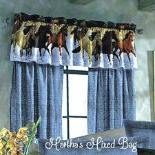 "HORSE PONY Western Equestrian Blue WINDOW Treatment 84""x 84""Curtain DRAPERY SET"