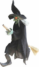 HALLOWEEN WITCH ON BROOM LIGHTS SOUNDS PROP YARD DECORATION HAUNTED HOUSE