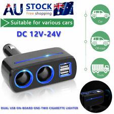 Car Cigarette Lighter Adapter 2 Way 12v USB Double Plug Socket Charger Splitter