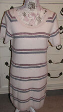 Hanna Andersson Women's Medium 6 - 8 Winter White Striped Sweater Dress