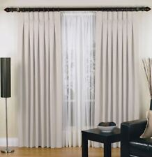 Elysian Small Urban Pinch Pleat Curtain 2 Panel Jacquard Blockout Fabric Sand