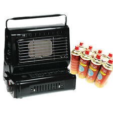 PORTABLE GAS HEATER CAMPING FISHING OUTDOOR WITH X 8 GAS BUTANE CANISTER BOTTLES