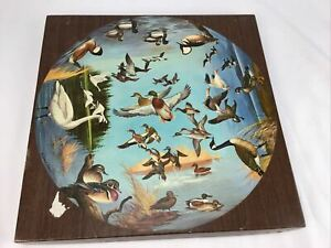 WOODEN Vtg Circular Springbok Round Puzzle Ducks And Geese By Maynard Reece