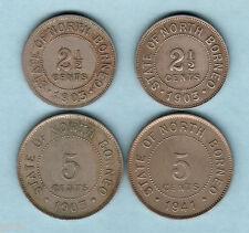 British North Borneo. 2 1/2 Cents:1903-H x2,  5 Cents:1903-H, 1941.  (4 Coins)