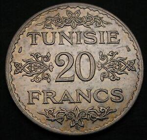 TUNISIA 20 Francs AH 1353 (1934) (a) - Silver - VF/XF - 1024