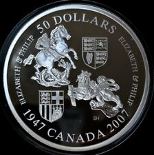 2007 CANADA $50 .9999 PURE SILVER PROOF - THE QUEEN'S 60th WEDDING ANNIVERSARY