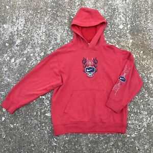 VTG Nike Flames Center Swoosh Hoodie Travis Scott Youth L Fits Adult Small
