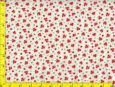 Red Flower Bouquets &  Flowers on White Quilting Fabric by Yard #782