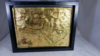 TVRCICUM IMPERIVM ANTIQUE GOLD & COPPER FOIL OTTOMAN EMPIRE Glass Map Framed