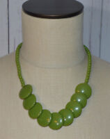 Green Acrylic Round Disc Bead Beaded Vintage Style Necklace