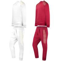 NEW Men Sweat Suit White Track Luxury Crewneck Joggers Long Sleeve Pants White