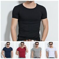 Fashion Men's Slim Fit V Neck Plain Short Sleeve Muscle Tee T-shirt Casual Tops