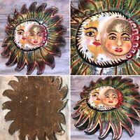 """VTG '70 Nahua """"Celestial Face"""" 19"""" Polychrome Wood Moon & Sun Folk Art GUERRERO"""