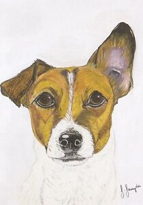 Jack Russell Card by Sarah Sample Art with paw print cut out detail inside
