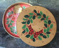 "VTG 1986 HALLMARK DEAD STOCK Christmas Wreath Plates 7"" WOOD PANTRY BOX SEALED"
