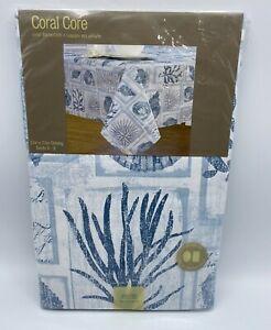 "Vinyl Tablecloth 52"" X70"" Oblong Beach Theme Blue & White Coral Core NEW"