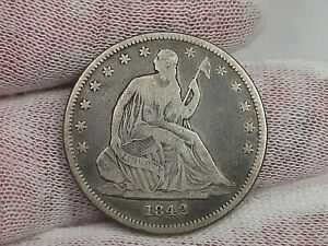 1842 small date Silver SEATED LIBERTY Half Dollar.
