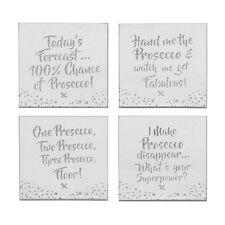 Prosecco Silver Glitter slogan Glass coasters. - 4 different Coaster designs