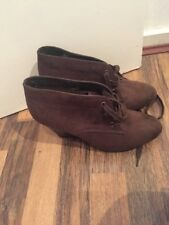 Gorgeous Brown Suedette Shoe Boot Wedges Insolia Marks And Spencer's Size 6.5