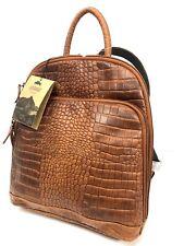 Jack Georges Voyager Leather Backpack Honey Brown Croco Crocodile Bag