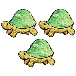 "Mini Turtle Applique Patch - Ocean, Sea Creature 1"" (3-Pack, Iron on)"