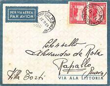 1937 SOMALIA Pittorica due c.75 busta via aerea Mogadiscio Rapallo x COLONNELLO
