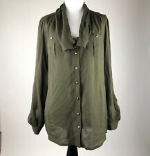 Odille Anthropologie Women Olive Green Rayon Long Sleeve Blouse Top sz 4