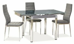 """""""SAVANNAH"""" Grey Glass Extendable Dining Kitchen Table & Chairs"""