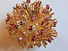 "ESTATE VINTAGE TIFFANY & CO. 18K GOLD & RUBIES ""CORAL REEF"" BROOCH--$375 OFF"