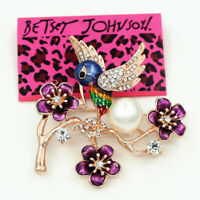 Betsey Johnson Colorful Enamel Crystal Flower Magpie Bird Charm Brooch Pin Gift