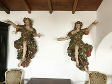 Rare 18th Century Life-Size Pair or Baroque Angels Welcoming Us to Heaven
