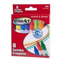 Rose Art Smooth And Vibrant 8 Count Jumbo Crayons NEW Supplies