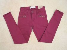 NWT Hollister Womens Super Skinny Twill Pants Size 0 Jeans Burgundy