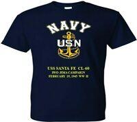 USS SANTA FE CL-60 IWO JIMA 1945 WW2  VINYL & SILKSCREEN NAVY ANCHOR SHIRT.