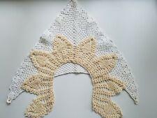 2 Vintage Handmade Crochet White and Beige Collars #33