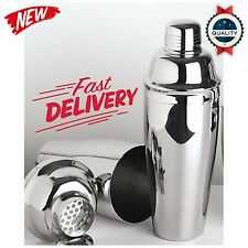 Premium Silver Cocktail Shaker Set Stainless Steel Drink Mixer 24 Oz, New
