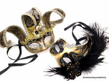 Masquerade ball Mardi Gras Dance Prom Halloween Party Jester Feather Couple Mask