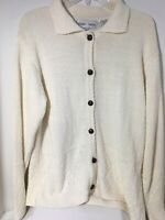 Women's Baxter Wells Creamy White Cotton Blend Cardigan Sweater Size Medium