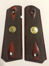 1911 FULL SIZE DOUBLE DIAMOND CHECKERED ROSEWOOD GRIPS GOLD COLT V FAST
