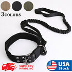 NEW Tactical K9 Dog Collar And Leash Harness Strap Training Heavy Duty Bungee