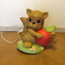 Precious Moments RACCOON w/ Apple Figure Lamp Night Light Nursery Forest Animal