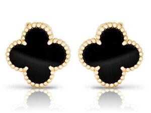 Van Cleef & Arpels Magic Alhambra Onyx Gold 18k. Earrings Clip/Pin VCA Pouch