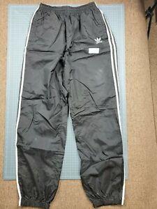 Men's Black Adidas Nylon Elastic Waist Ankle Track Pants Size Medium (25x30)