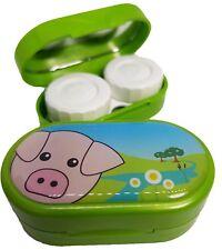 Caso de Espejo Lindos Animales-Lentes De Contacto remojo Estuche Reino Unido Made-Cerdo