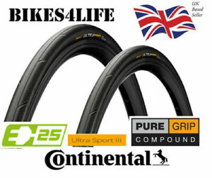 2 x Continental Ultra Sport 3 - 700c x 28c Wired Road Bike Tyres